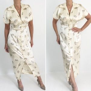 Vintage Cheongsam Inspired Maxidress Champagne
